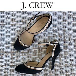🆕 {J.Crew} Black Suede Heels w/ Ankle Strap